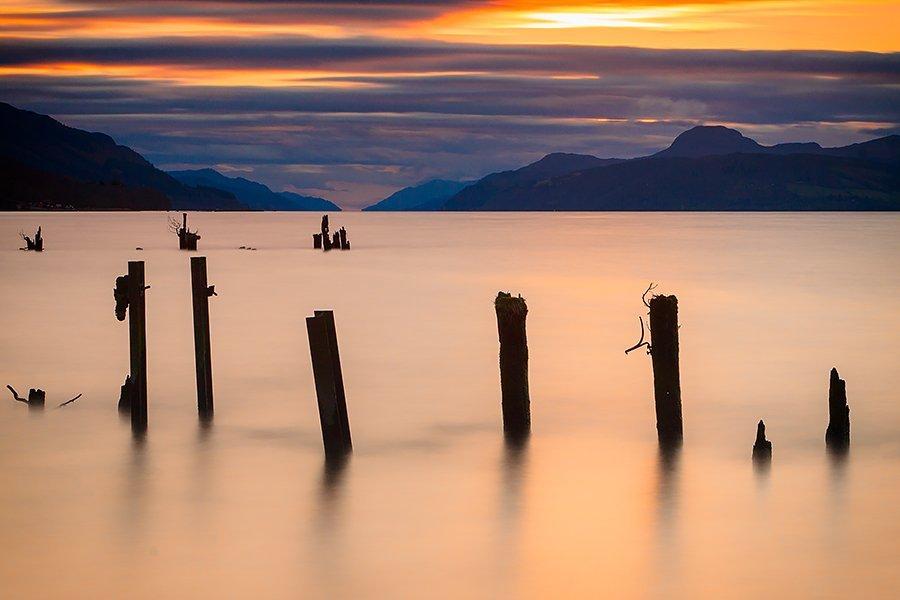 A golden sunset over Loch Ness