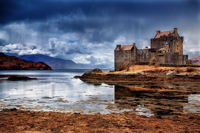 Eilean Donan Castle in moody weather