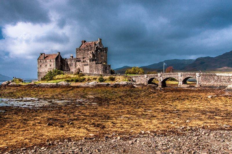 Eilean Donan Castle at low tide