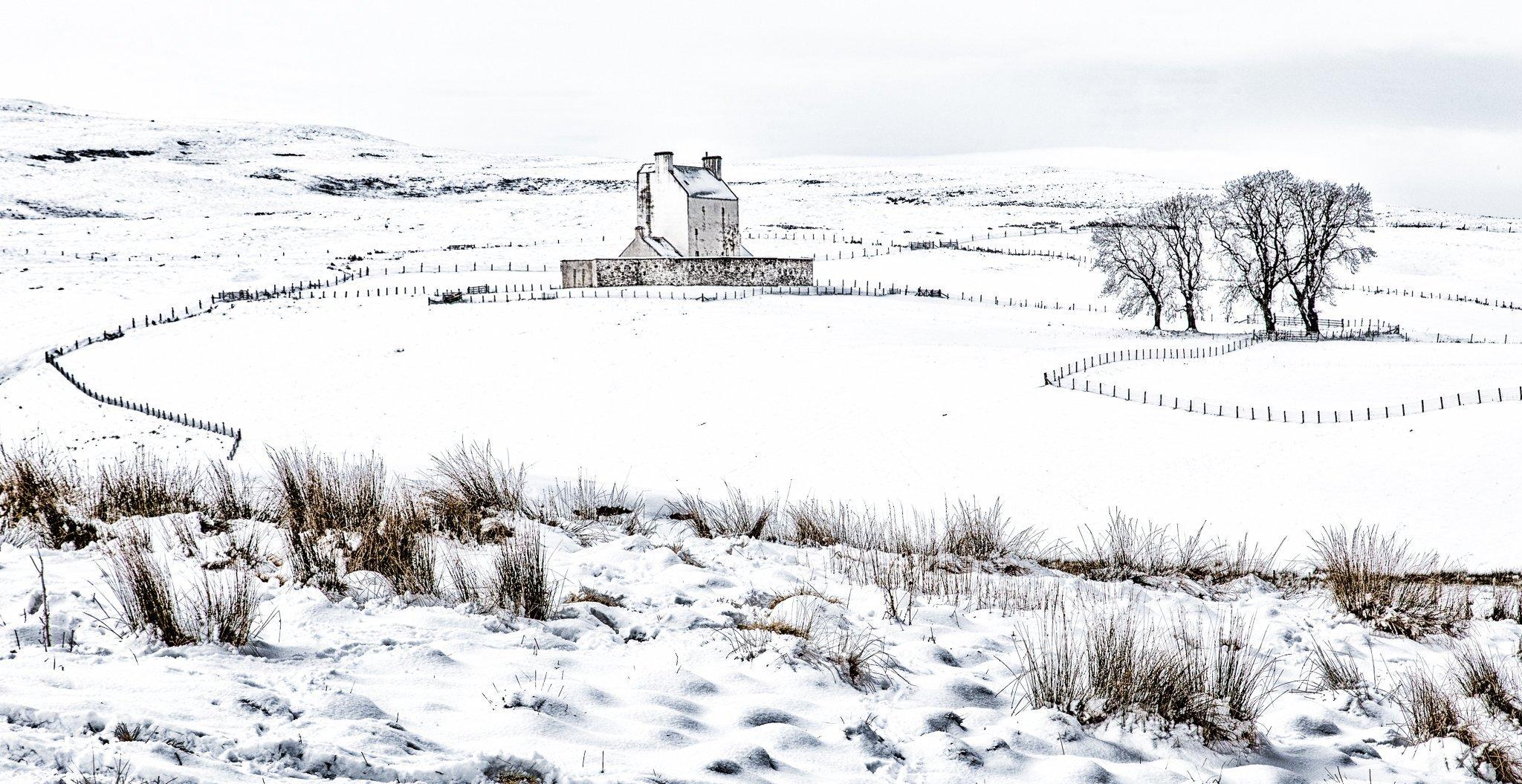 Corgarf Castle in the snow