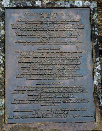 An engraved plaque tells how Niel Smith served as assistant ships surgeon on the HMS Victory at the Battle of Trafalgar