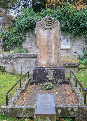 A large memorial stone in Cawdor graveyard, dedicated to Dr Niel Smith, ships surgeon to Admiral Horatio Nelson